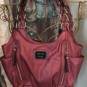 Nicole Miller designer Purse lge Wine two straps
